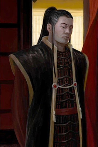 A regal man in long robes stands in a darkened room.