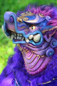A purple and blue fanged monster.
