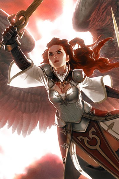 A woman with red hair and white wings wearing a breastplate and wielding swords.