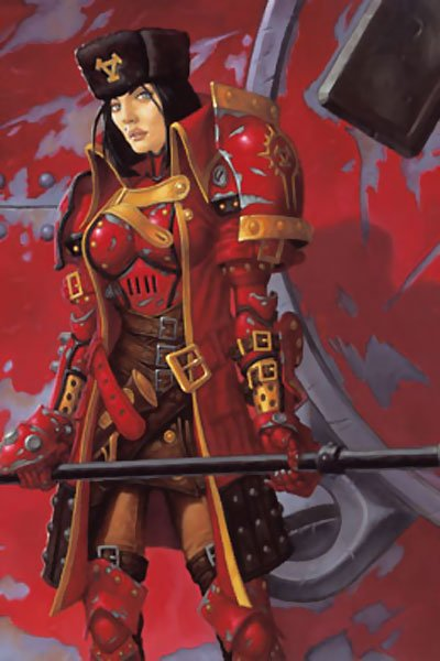 A woman with black hair and a Russian hat stands in bulky red armor.