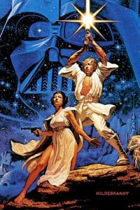 Luke and Leia in the iconic Star Wars movie poster.