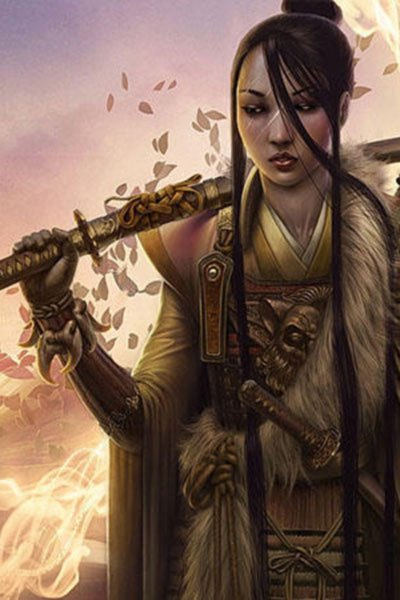 A weary woman stands with her katana on one shoulder.