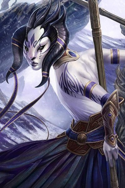 A young Djinn of the Jeskai Clan wields a long staff.