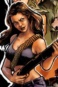 A detail of Veronica's illustration of Claudia Christian blowing a hole in a zombie.