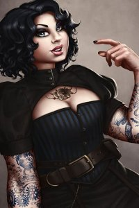 Amanda, a steampunk beauty in a leather corset and elaborate tattoos.