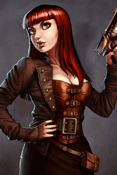 A woman with long red hair and wearing burnished leather brandishes a smoking gun.