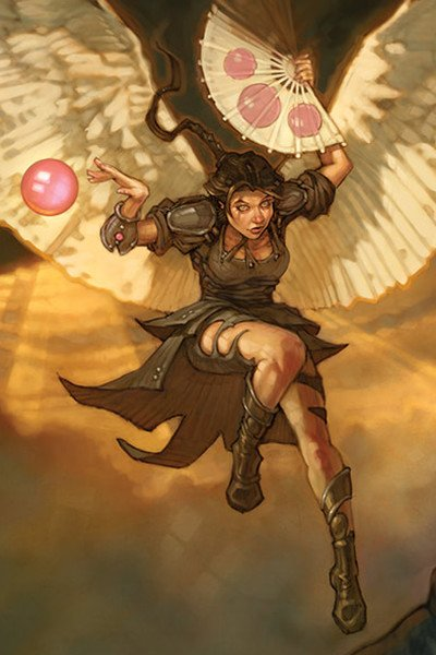 A winged woman with a paper fan prepares to land.