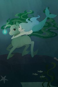 a cute mermaid wraps her arms around an underwater deer creature.