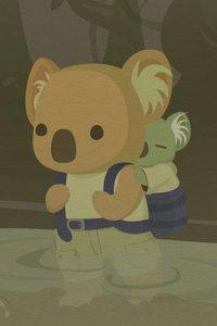 A koala Luke Skywalker walks through the swamp planet Dagobah with a koala Yoda on his back.