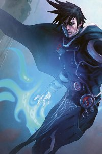 A man in armor and a cape readies a blue glowing spell