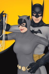 Batman holds Catwoman's arm as Catwoman holds a string of pearls. Circa 1967