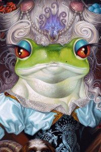 A green frog with an ornate white wig stands in a blue dress.
