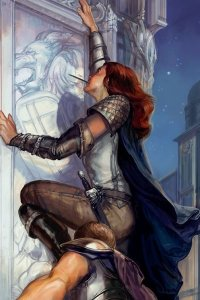 A cloaked woman with red hair climbs.