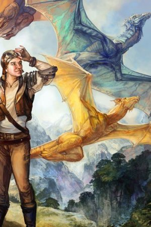 An aviator watches blue and yellow dragons soar.