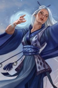 A woman with long white hair casts a glowing spell.