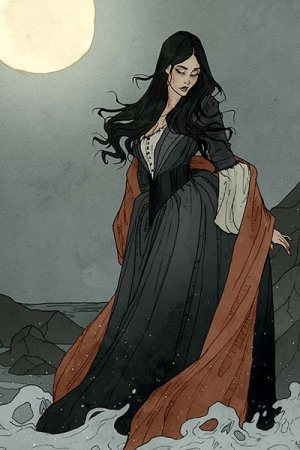 A somber woman with long black hair in a long gray dress stands at the edge of the sea under a full yellow moon.