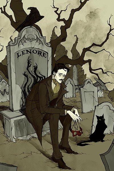 A slender man sits on a large grave with the name 'Lenore' engraved upon it.