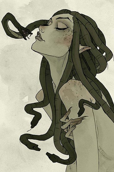 A green woman with snakes for hair peers at a particularly ferocious lock.