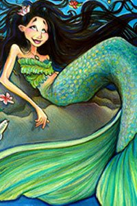 A cartoonish mermaid relaxing on the shore.