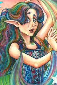 A pensive fairy with multicolored hair and robes.