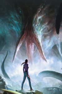 A gigantic tentacled beast looms menacingly over a slender woman wielding a sword.
