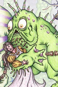 A large, baggy green monster clutching a woman in one arm.