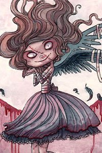 A doll-like girl with flowing brown hair, large evil eyes and small black wings.