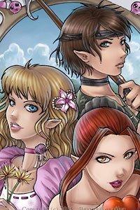 Three beautiful young elven women: a warrior, a flirt and a seductress.