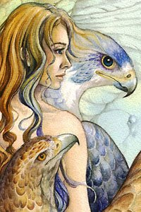 A young woman with long blond hair is flanked by birds of prey.