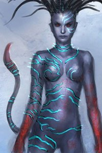 A concept illustration of an alien woman from James Cameron's Avatar.