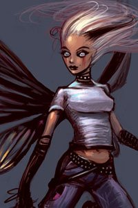 A fairy with white hair wearing jeans and a tee-shirt.