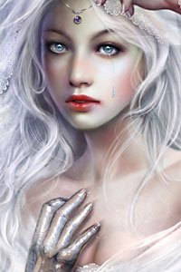 A pale young woman with white hair sheds an icy tear.