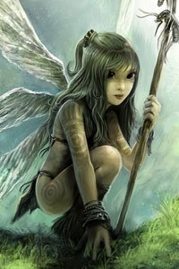 A little fairy crouches with a dead wasp at the end of her spear.