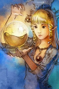 A young blond woman gazes at a large glowing sphere.