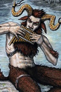 A goatish man with large horns plays the pipes.