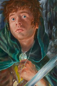 A cautious hobbit clutches as a necklace while weilding a small blade.