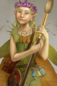 A small winged fairy girl wearing green holds a paintbrush.