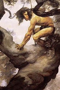 A muscular man wearing a loincloth crouches on a tree limb.