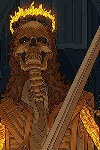 A sketelon coverd in glowing runes wears a firery crown.