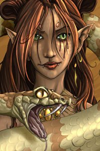 An elf woman with long brown hair with a large fanged serpent.