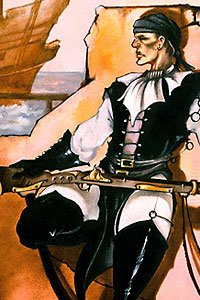 A tall man in black leather rests on a broken wall with a long rifle.