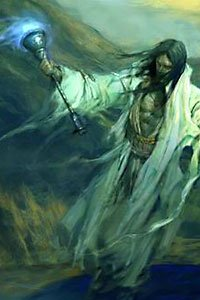 A man in tattered white robes carying a large blue-flamed torch.