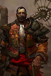 A man in a bright quilted jacket and futuristic armor.