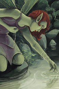 A red-haired fairy bends over a pool of water.