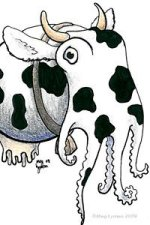A cow-colored cuttlefish with horns and an udder, a.k.a. Cowthulu.