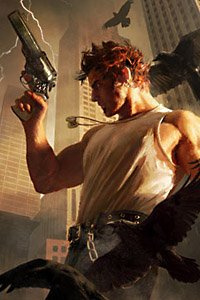 A muscular man holding a pistol is surrounded by ravens