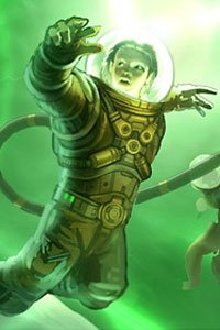 A figure in a space suit is bathed in eerie green light.