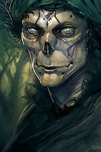 A skeletal figure wrapped in green stares with cold, pale eyes.