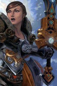 A woman in heavy armor wields a large sword.