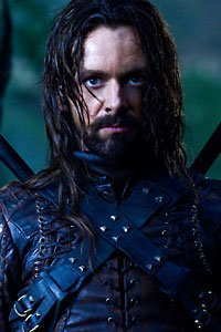 Underworld 3's Michael Sheen as Lucian, in leather and looking mean.